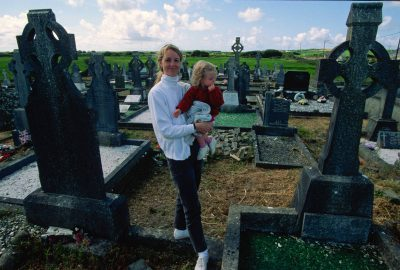 Photo: A mother and daughter in a Celtic cemetery in Ireland.