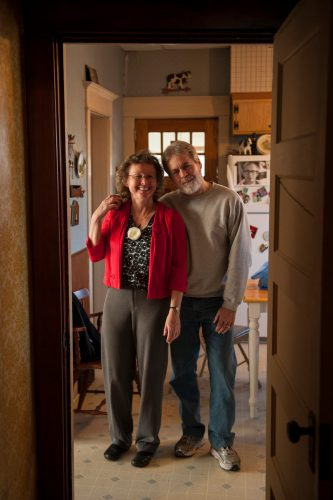 Photo: A husband and wife pose for a photograph in Lincoln, Nebraska.