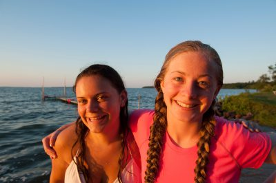 Photo: Cousins at sunset on Leech Lake, MN.
