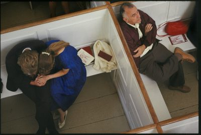 Photo: Old North Church visitors in private stalls praying in Boston, Massachusetts.