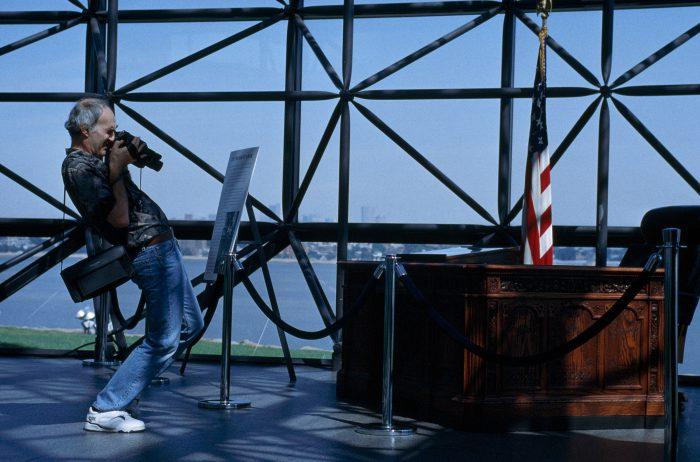 Photo: A tourist films a replica of the desk in the Oval office in Boston, Massachusetts.