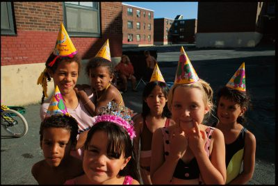 Photo: Children at a birthday party at Charlestown's Bunker Hill housing project in Boston, Massachusetts.