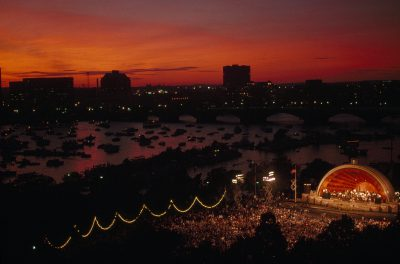 Photo: Edward Hatch Memorial Shell concert of the Boston Pops orchestra on the Charles river in Boston, Massachusets.