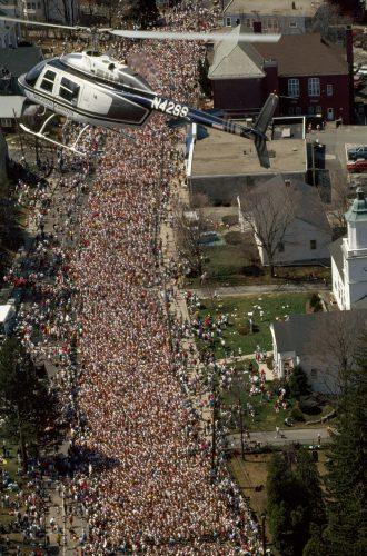 Photo: An aerial of the 97th annual Boston Marathon entrants in Massachusetts.