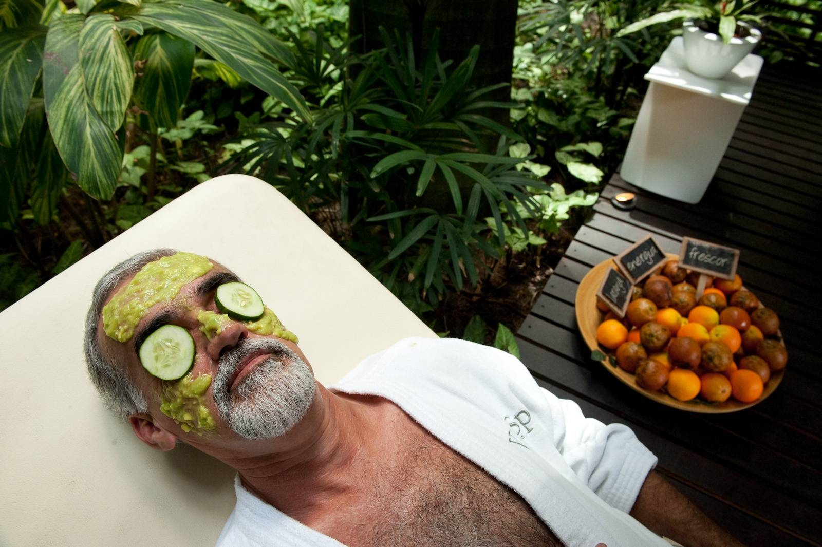 Photo: A man relaxes at a spa in Rio de Janeiro, Brazil.