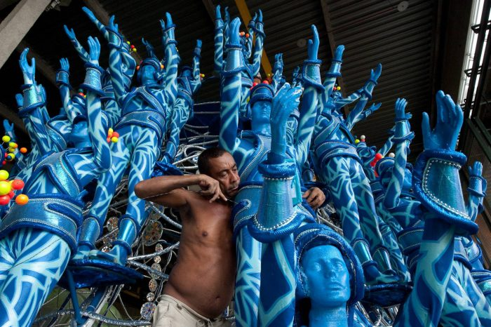 Photo: A float maker prepares the Big River samba group's float for Carnival in Rio de Janeiro's Samba City.