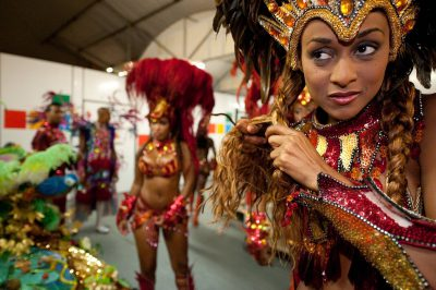 Photo: A dancer prepares to take her place on a Carnival float in Samba City, Rio de Janeiro, Brazil.