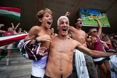 Photo: Soccer fans cheer for their team in Rio de Janeiro, Brazil.