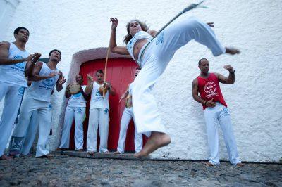 Photo: Capoeira dancers practice their art in Salvador, Brazil.