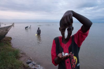 Photo: A boy holds up a tiny carpenter fish in the village of Kyehoro on Lake Albert in Uganda.