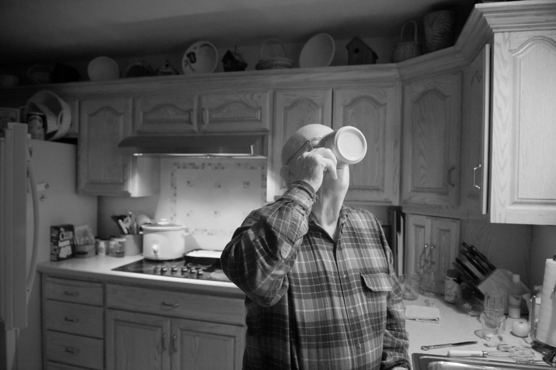 Photo: A man drinks his coffee in Elkhorn, Nebraska.