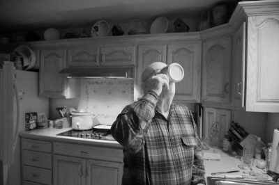 Photo: A man drinks his coffee in Elkhorn, Nebraska.