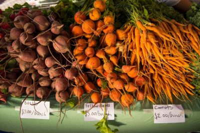 Photo: Vegetables are display at the Farmer's Market in the historic Haymarket district of Lincoln, Nebraska.