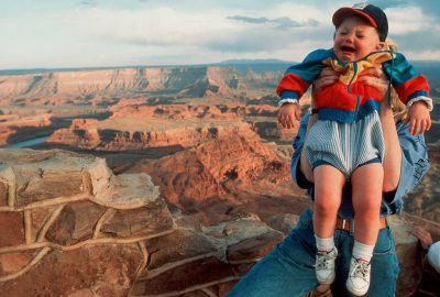 Photo: A young hiker belts out a cry that echoes through the canyons of Deadhorse Point State Park in Utah.