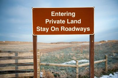 Photo: A sign declaring private land in the Nebraska Sandhills.