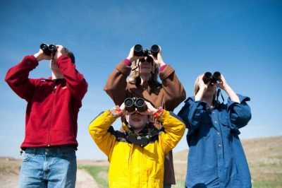 Photo: A family goes bird watching in the Nebraska Sandhills.