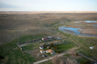 Photo: An aerial of a ranch in the Nebraska Sandhills.