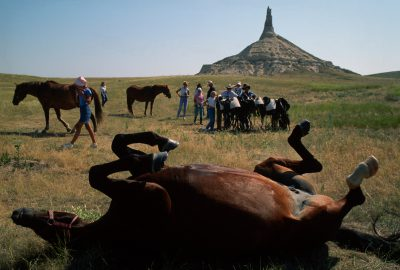 Photo: A horse and his owners stop near Chimney Rock in Nebraska during a trip that traced the historic route of the pioneers.