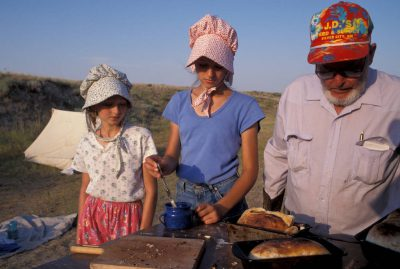 Photo: Dinner time at the foot of Chimney Rock, a Nebraska landmark on the Oregon trail.