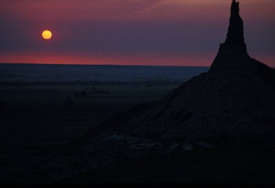 Photo: Chimney Rock in Nebraska served as a landmark for Pioneers on the Oregon Trail.