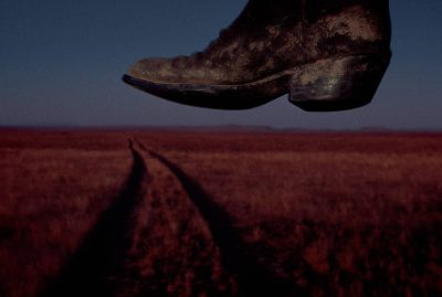 Photo: A boot hanging up to dry at Charles M. Russell National Wildlife Refuge in Montana.