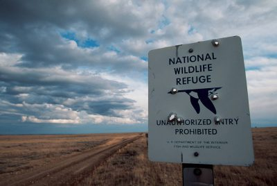Photo: A sign on the edge of Charles M. Russell NWR, Montana.