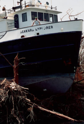 Photo: The Seaward Explorer, one of many boats blown ashore during Hurricane Andrew.
