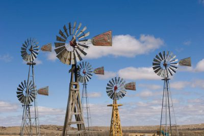 Photo: Windmills in Comstock, Nebraska.