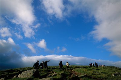 Photo: Hikers on Scotland's Ben Nevis mountain at the western end of the Grampian Mountains.