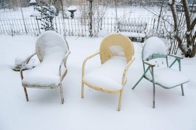 Photo: Snow covered lawn chairs in Lincoln, Nebraska.