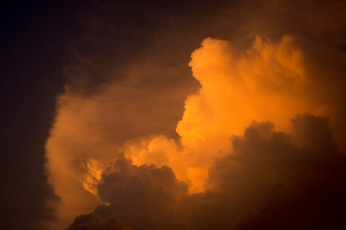 Photo: Thunderstorm at sunset over eastern Nebraska.