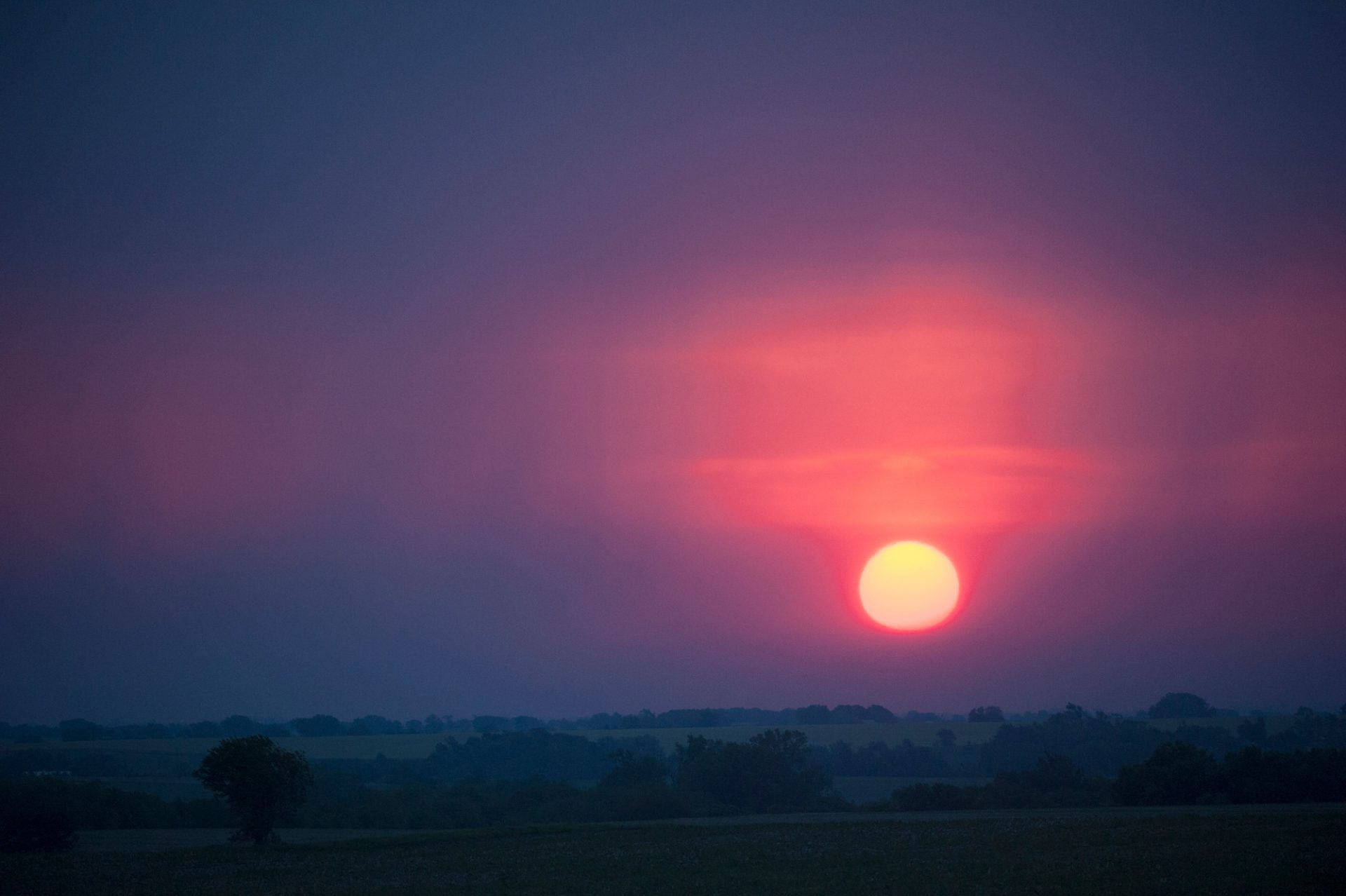 Photo: The sun rises near Syracuse, Nebraska.