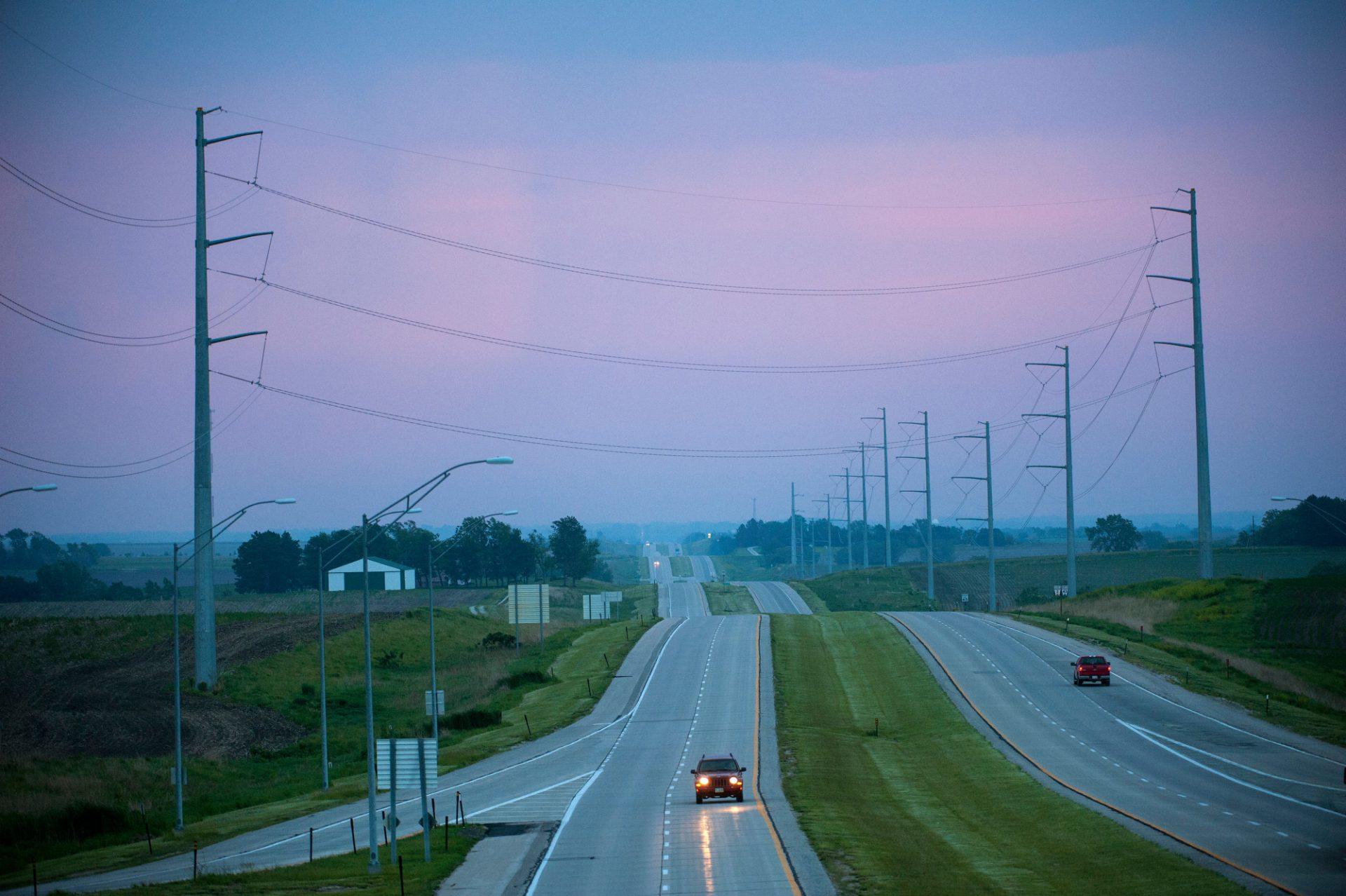 Photo: Cars drive along Highway 2 near Syracuse, Nebraska.
