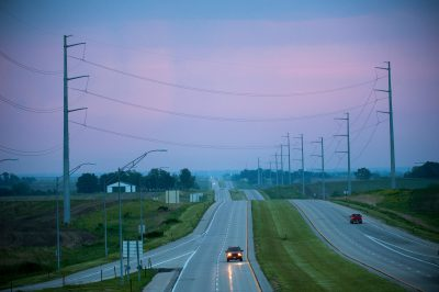Photo: Cars drive along Highway 2 near Syracuse, Nebraska.