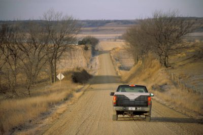 Photo: A pickup rolls through the Loess Hills, near Smithland, IA.