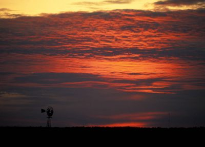 Photo: A windmill at dusk in a rural town.