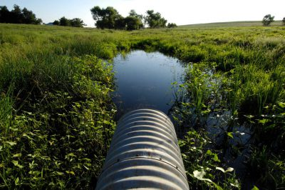Photo: An overflow pipe from a farm pond at the Snyder farm near Bennet, NE.