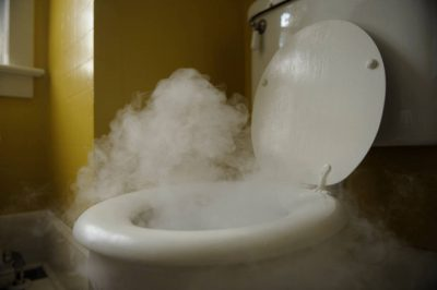 Photo: An illustration of a toilet hooked up to hot water (using dry ice inside the bowl.)