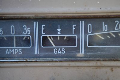 Photo: A gas gauge reads empty on an old farm truck.