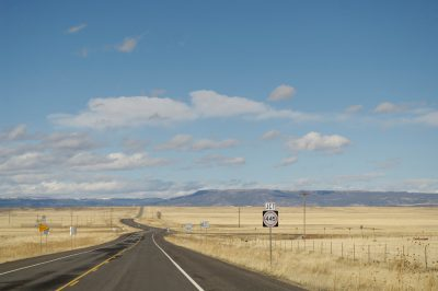 Photo: Snowy scenes along a New Mexico highway.