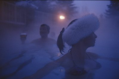Photo: Tourists in a steam-heated pool near Sun Valley, Idaho.