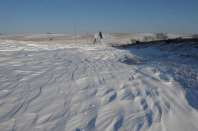 Photo: Snow-blocked road near Dunbar, Nebraska.