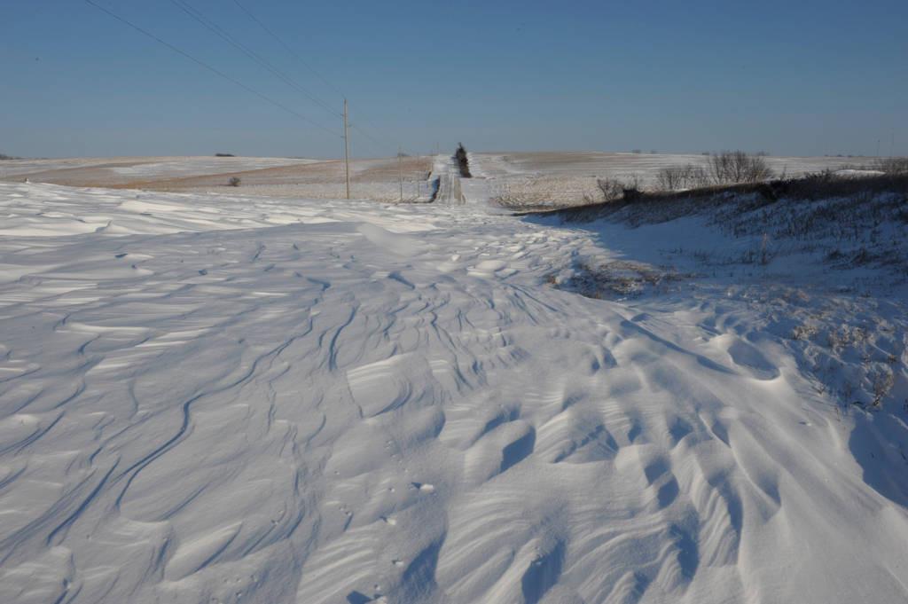 Photo: Snow-blocked road near Dunbar, Nebraska.
