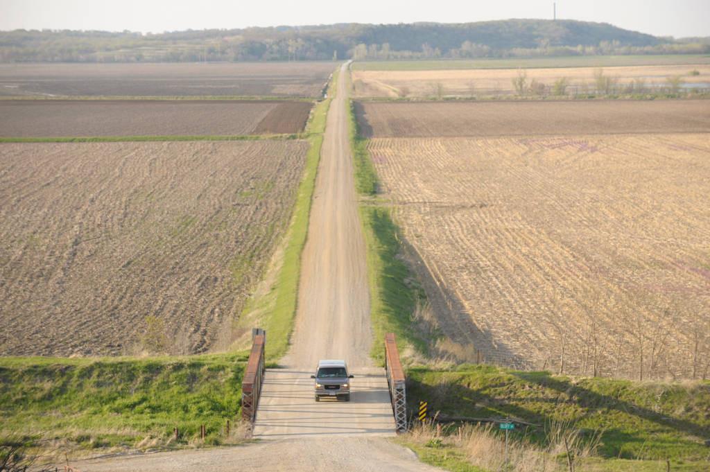 Photo: A county road that crosses the Missouri Valley between Peru and Nebraska City, Nebraska.
