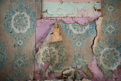 Photo: Wallpaper peels away from an abandoned house in Otoe County, Nebraska.