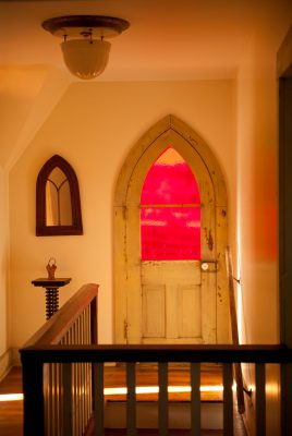 Photo: The world as seen through a red window near Dunbar, Nebraska.