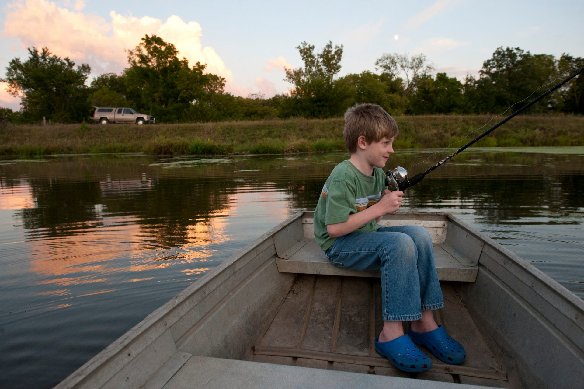 Photo: A young boy anticipates catching a fish near Ceresco, Nebraska.