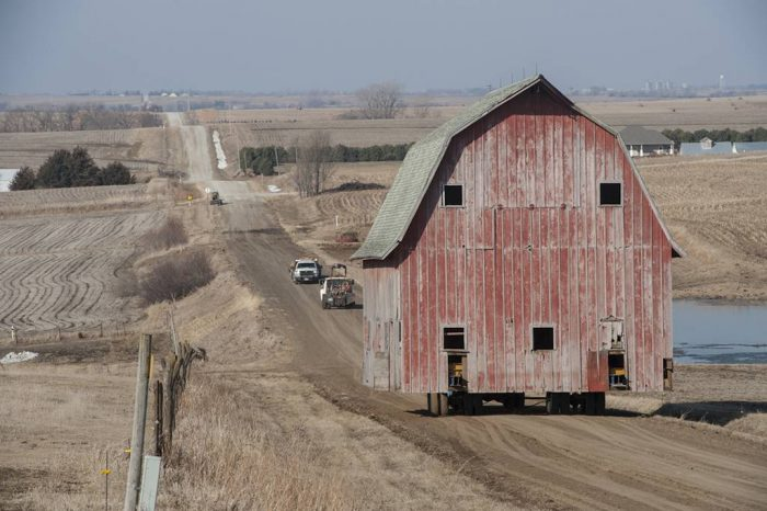 Photo: An old barn is relocated.