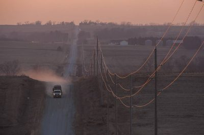 Photo: Sunset along a rural road in Nebraska.