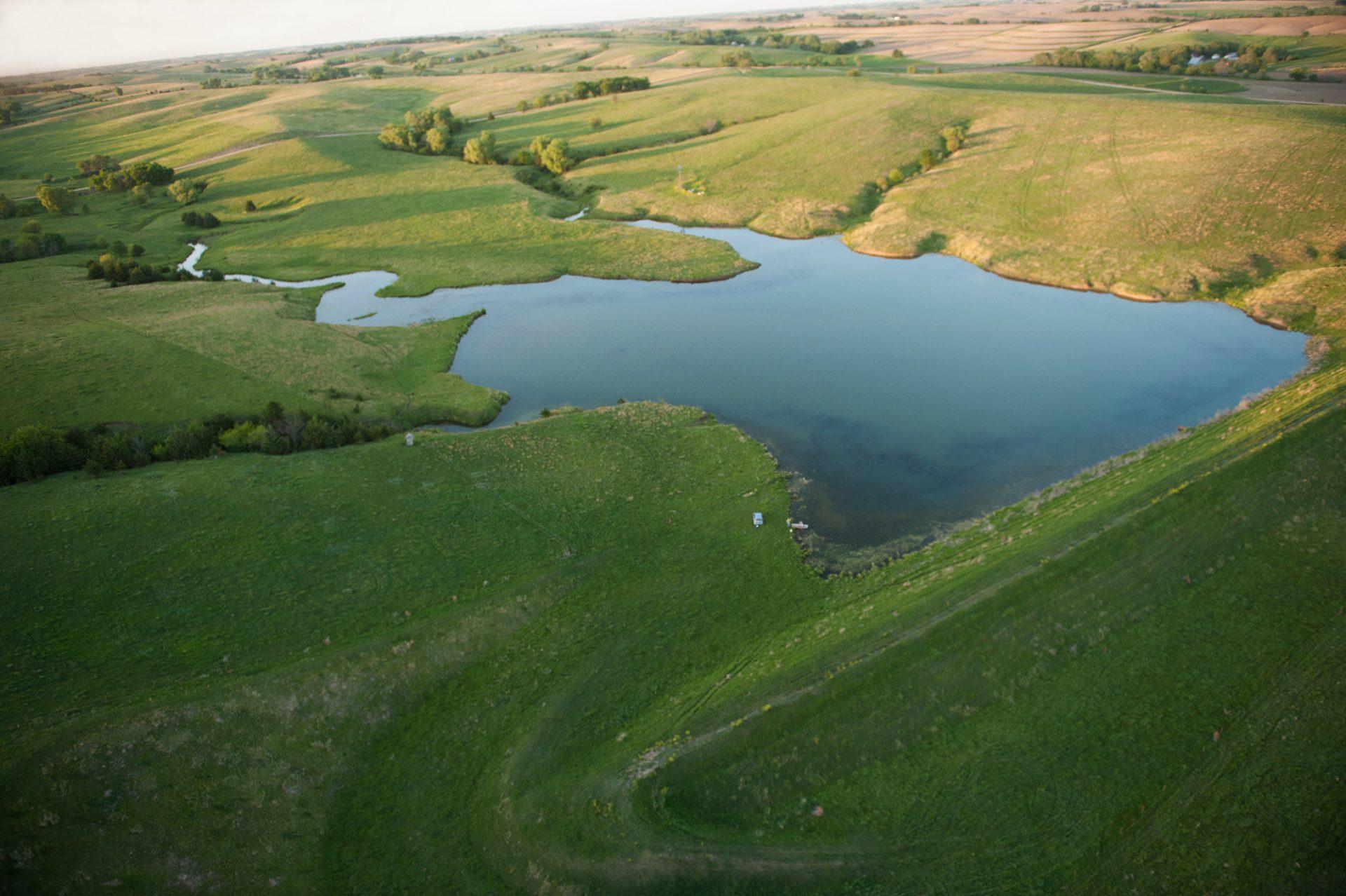 Photo: An aerial view of a pond in Valpraiso, Nebraska.